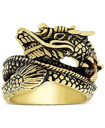 Мужское кольцо Dragon из нержавеющей стали с ионным покрытием желтого и черного цветов Macy's