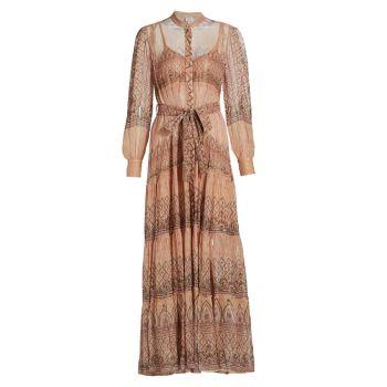 Макси-платье со сборками и поясом HEMANT & NANDITA