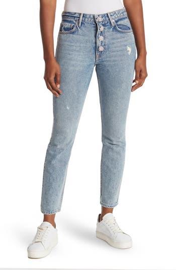 Karolina Rhinestone Button Distressed High Waist Jeans GRLFRND