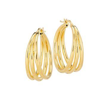 Серьги-кольца с тремя кольцами из желтого золота 18 карат Roberto Coin