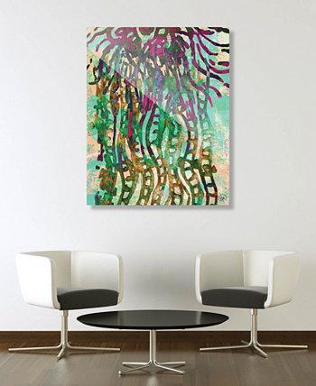 Психоделическая медуза в зеленой абстрактной акриловой художественной печати 16 дюймов x 20 дюймов Creative Gallery