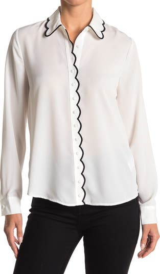 Embroidered Scallop Detail Blouse Laundry by Shelli Segal