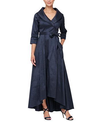 Платье из тафты с портретным воротником Alex Evenings