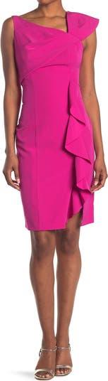 Асимметричное платье-футляр с оборками MARINA