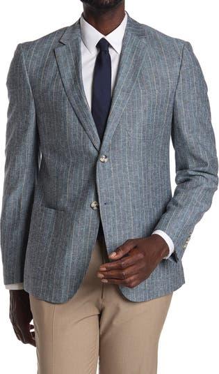 Синий приталенный пиджак в тонкую полоску с двумя пуговицами и лацканами с вырезом Original Penguin