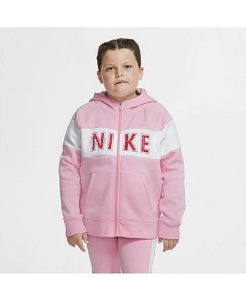 Толстовка с капюшоном из флиса с молнией во всю длину для девочек Sportswear - увеличенные размеры Nike
