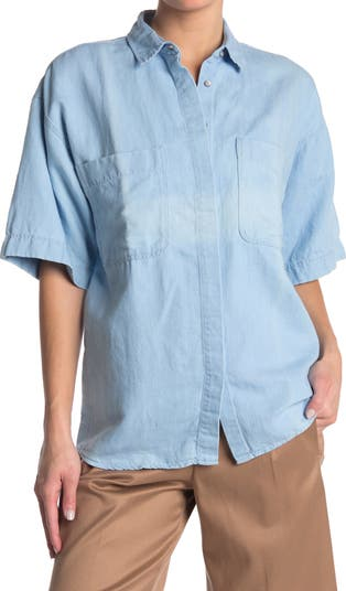Woven Short Sleeve Top CLOSED