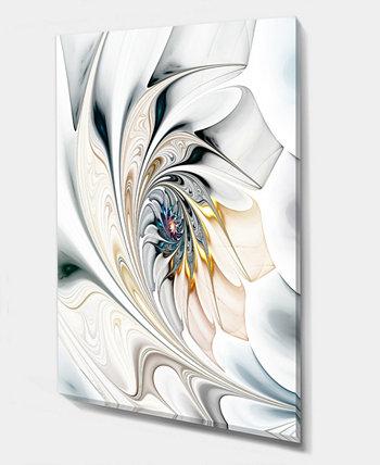 """Designart Белые витражи с цветочным рисунком. Большой холст с цветочным рисунком для стен - 12 """"X 20"""" Design Art"""