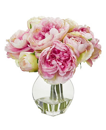 Peony Artificial Arrangement in Vase NEARLY NATURAL