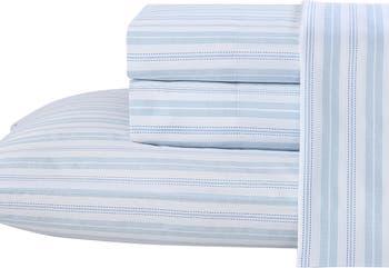 Комплект из 4 простыней с синим хлопком Fern T300 Cotton King из 4 предметов Laura Ashley