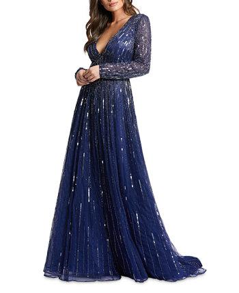 Платье с V-образным вырезом и украшением MAC DUGGAL