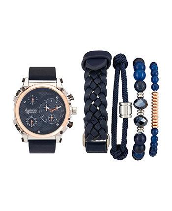 Мужские ВМС / Розовое Золото Аналоговые Кварцевые Часы И Штабелируемый Подарочный Набор American Exchange
