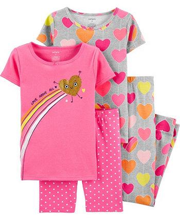 Little Girls Elephants Snug Fit Pajama, 4 Piece Set Carter's