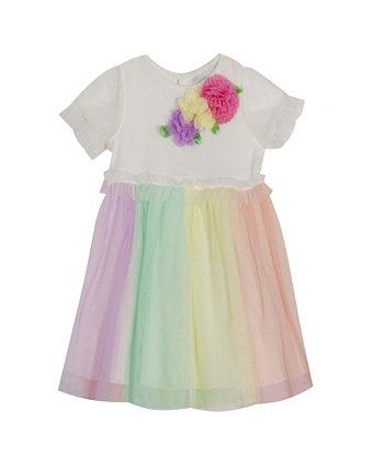 Вязаное платье в цветную сетку в рубчик для маленьких девочек Rare Editions