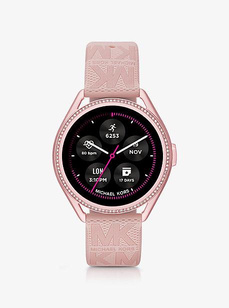 Умные часы Michael Kors Access Gen 5E MKGO в розовых тонах с резиновым логотипом и логотипом Michael Kors