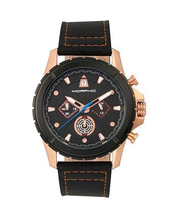 Серия M57, корпус из розового золота, часы с черным хронографом на кожаном ремешке, 43 мм Morphic