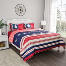 Portsmouth Home Hypoallergenic Microfiber Glory Bound Patriotic Americana Flag Print Quilt Set Portsmouth Home