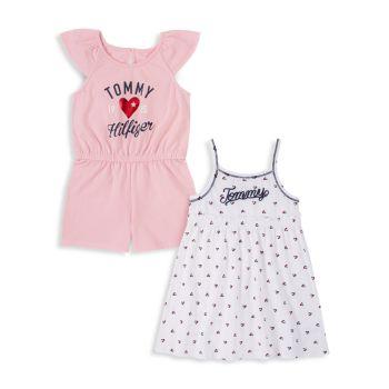 Little Girl's 2-Piece Logo Romper & Dress Set Tommy Hilfiger