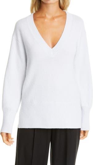 Кашемировый свитер-туника в рубчик с V-образным вырезом Vince