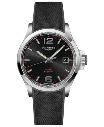 Мужское швейцарское завоевание В.Х.П. Черный резиновый ремешок часы 43мм Longines