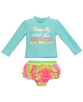 Набор из 2 штук Rashguard для новорожденных девочек с красотой и дизайном пляжа Wetsuit Club