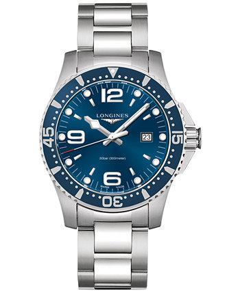 Мужские швейцарские часы-браслет из нержавеющей стали HydroConquest 44 мм L38404966 Longines