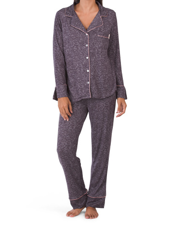 Пижамный комплект с длинными рукавами, вырезом и контрастной окантовкой Thalia Sodi