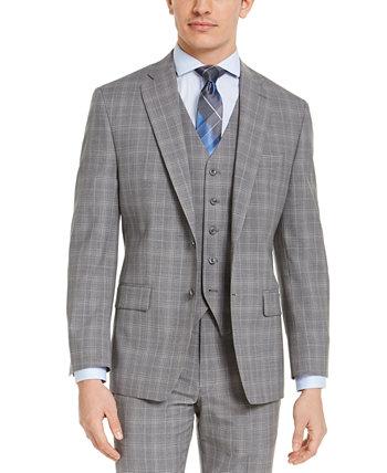 Мужская куртка-пиджак Classic-Fit Airsoft серая в клетку Michael Kors