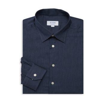 Однотонная классическая рубашка из фланелевой ткани Contemporary Fit Eton