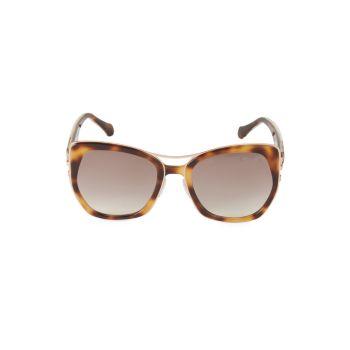 Солнцезащитные очки в квадратной оправе 55 мм из искусственной черепаховой расцветки Roberto Cavalli