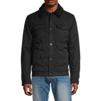 Стеганая куртка с воротником из искусственного меха Karl Lagerfeld Paris