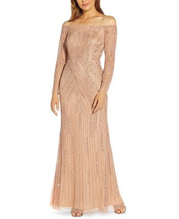 Платье с открытыми плечами и пайетками Adrianna Papell