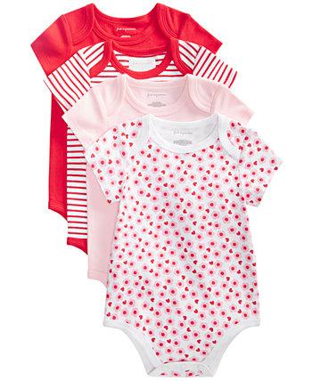 Комплект боди из хлопка с цветочным рисунком для новорожденных девочек, 4 пары, созданный для Macy's First Impressions