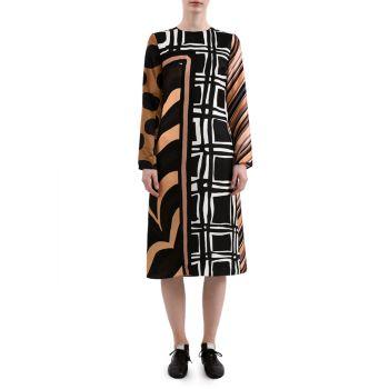 Платье прямого кроя в стиле пэчворк MARNI
