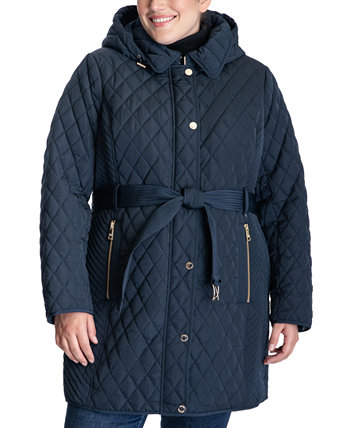 Plus Size Belted Quilted Coat Michael Kors