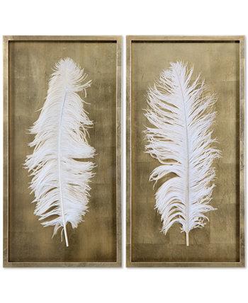Белые перья 2 шт. Искусство Стены Теней Uttermost