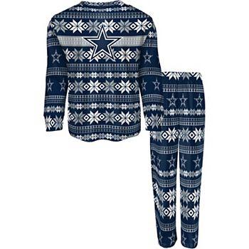 Youth Navy Dallas Cowboys Holiday Long Sleeve T-Shirt & Pants Pajama Set Outerstuff
