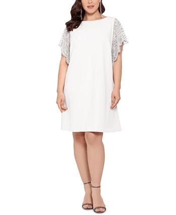 Plus Size Beaded-Sleeve Dress XSCAPE