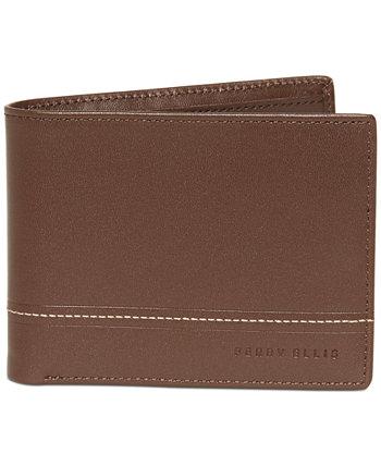 Мужской кожаный кошелек с двойным сложением контрастной строчкой Perry Ellis Portfolio