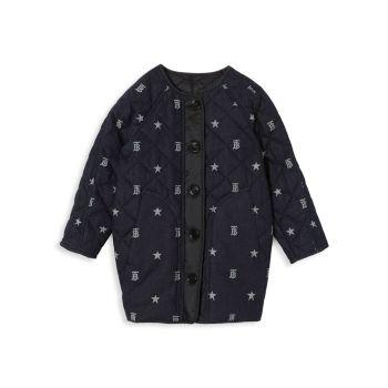 Маленькая девочка & amp; Джинсовое стеганое пальто с монограммой и логотипом для девочек Burberry