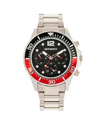 Кварцевые часы Pegasus с черным и красным циферблатом и серебристым сплавом 46 мм Breed
