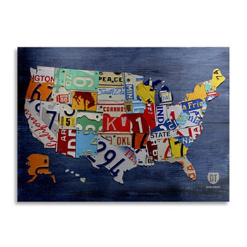 "Платформа Design Turnpike 'USA Map' Floating Brushed Aluminium Art - 16 ""x 22"" x 1 "" Trademark Global"