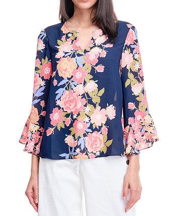 Блузка с разрезом и цветочным принтом Fever