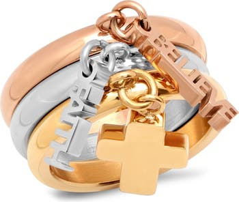 Трехцветное кольцо-оберег - набор из 3 шт. HMY Jewelry
