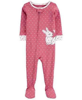 Сплошная хлопковая пижама Footie с кроликом для маленьких девочек Carter's