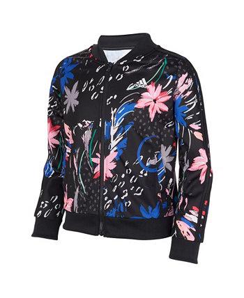 Трикотажная куртка с принтом на молнии спереди Little Girls Adidas
