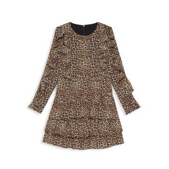 Платье Girl's Whit Ra Ra с леопардовым принтом и оборками Bardot Junior
