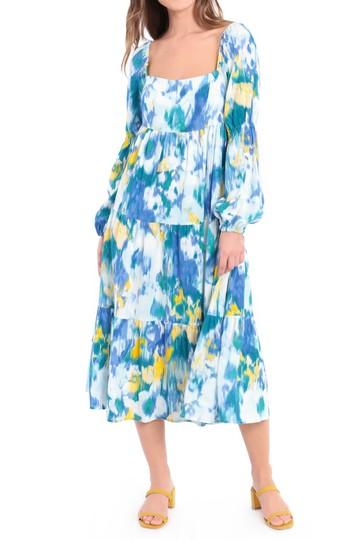 Многослойное платье-миди-миди из смесового льна с принтом Donna Morgan