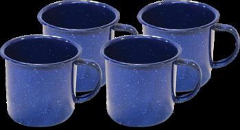 Классическая синяя эмалевая кружка - 12 эт. унция $ 12.99 - Набор из 4 шт. Mountain Summit Gear