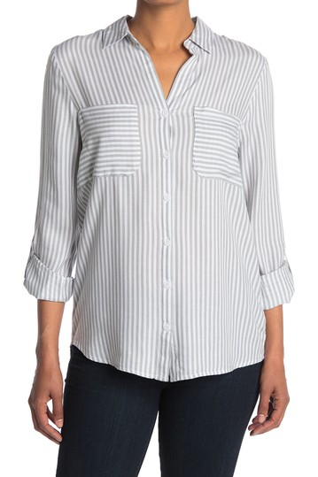 Kaia Double Pocket Stripe Button Down Top  BeachLunchLounge